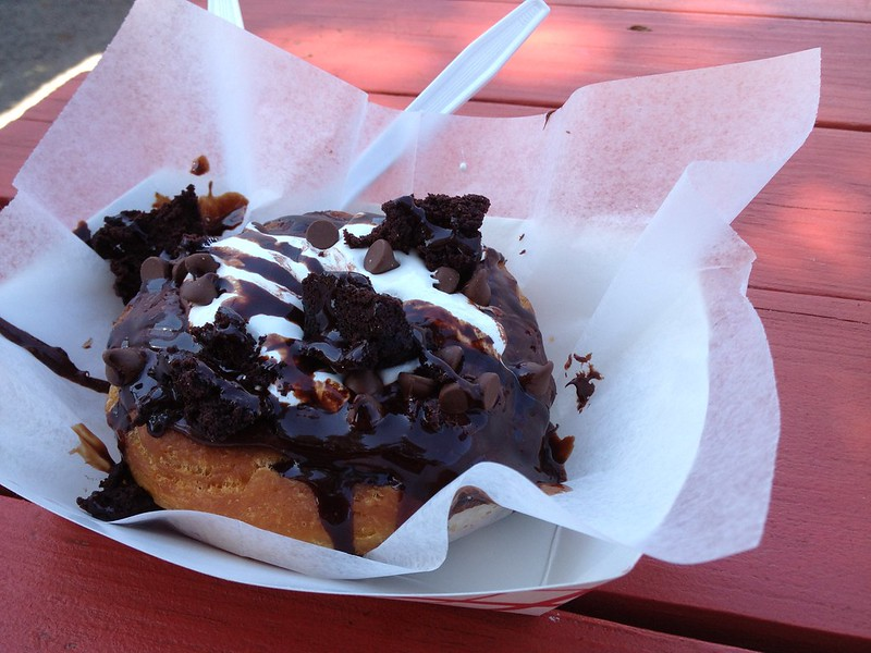 Heavenly Hash doughnut with marshmallow and chocalate fudge icing topped with fudge brownie from Gourdoughs Speciality Doughnuts