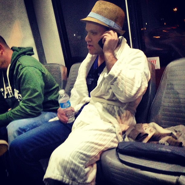 This #douchebag wore his robe to the airport