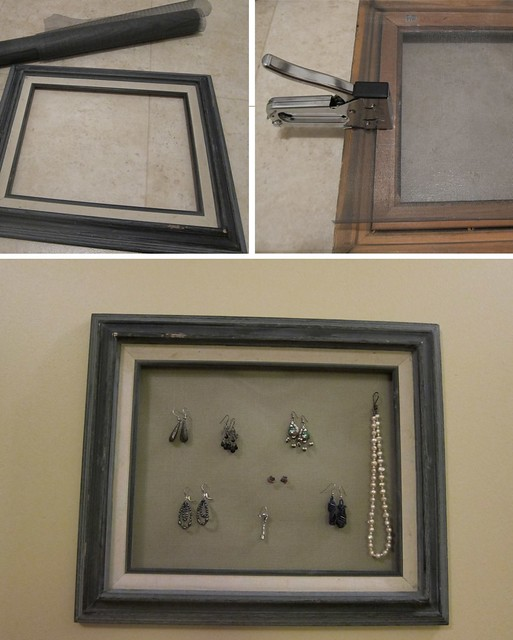 DIY Jewelry holder from old picture frame