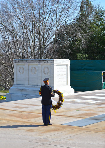 Guard with wreath - Tomb of Unknown Soldier - Arlington National Cemetery - 2013-03-15