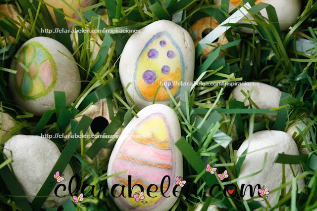 Huevos de Pascua con piedras pintadas para niños