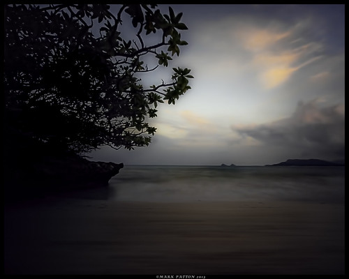 ocean sunset tree art beach water islands nikon long exposure surf na shore mokulua moks d7000 ©markpatton