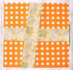 Wonky Cross Quilt Block - Orange
