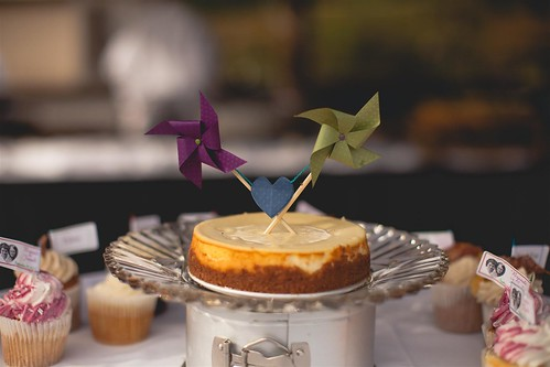 Cheesecake with pinwheel cake topper