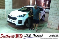 Congratulations Wende on your #Kia #Sportage from Gary Guyette Jr at Southwest KIA Rockwall!