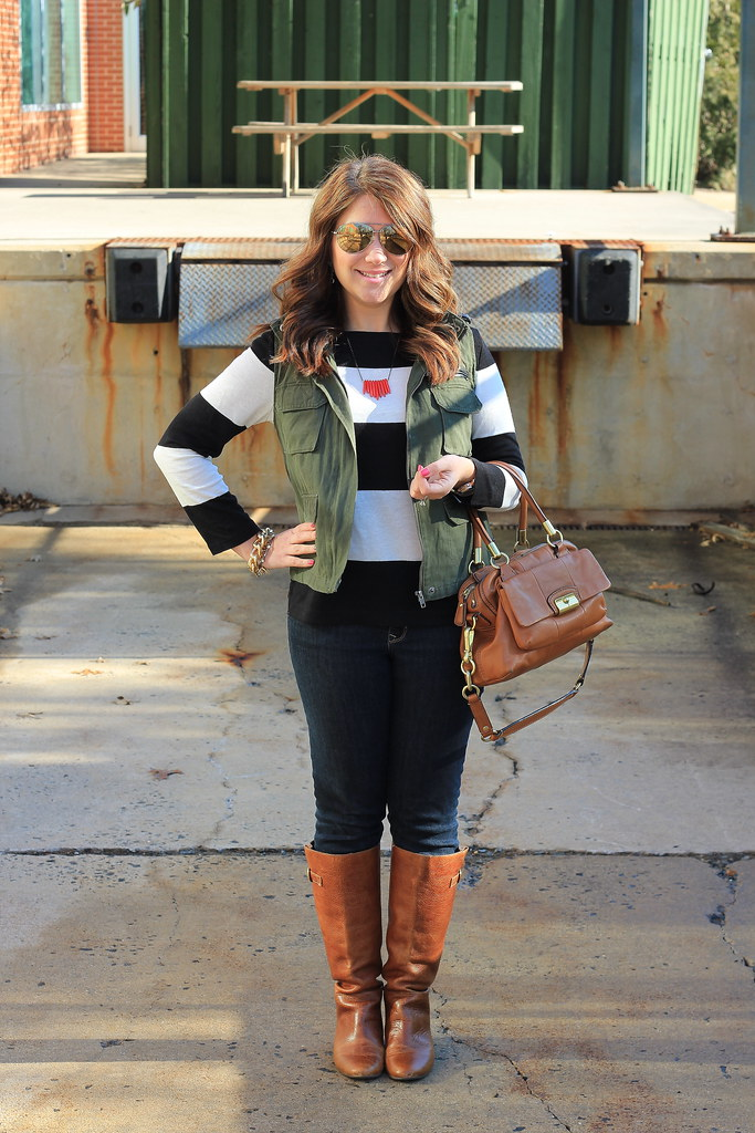Casual Stripes and Olive Green Vest casual outfit