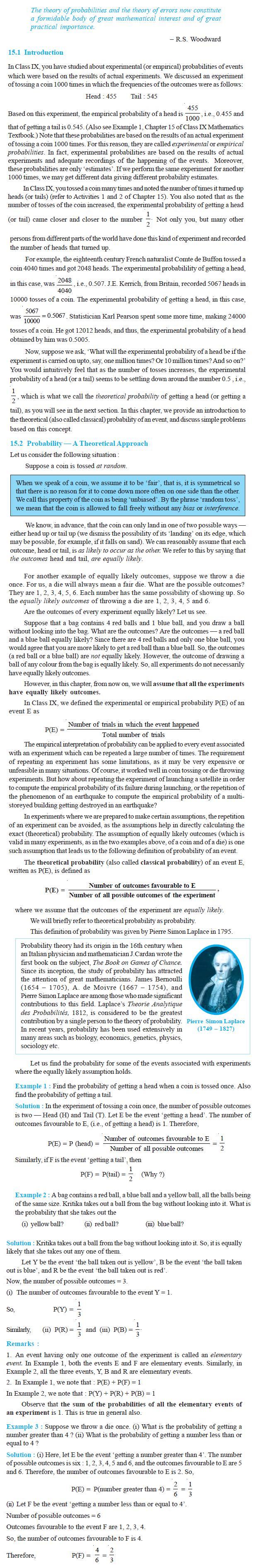 NCERT Class X Maths: Chapter 15 - Probability