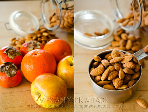 Left image: Persimmons, Tangerines, and Apples, Right pic: Raw almonds