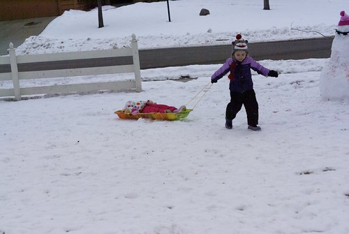Vivianne pulling Lilah on the sled!