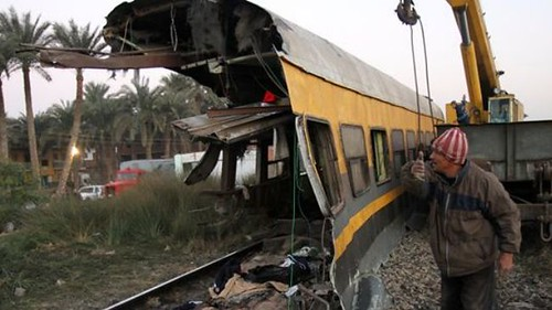 The impact of a train wreck in Egypt some 40 kilometers from the capital of Cairo. Police used teargas to disperse protesters demanding more safety measures. by Pan-African News Wire File Photos