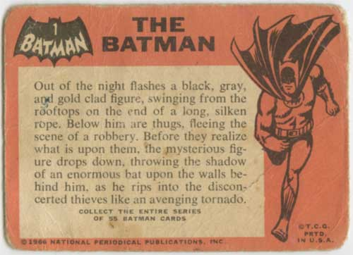 1966 Topps Batman Batman back