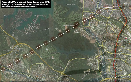 Route of LTAs proposed Cross Island Line (CRL) through the Central Catchment Nature Reserve