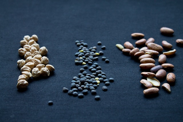 Chickpeas, Lentils, and Marble Beans