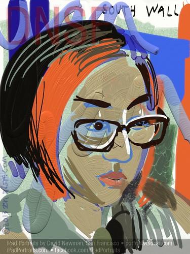 iPad Portrait of Yan Zhu Today at Aaron Swartz Hackathon at Noisebridge by DNSF David Newman