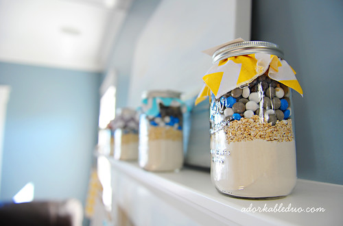 big city ninja themed co-ed baby shower, mason jar of cookie mix