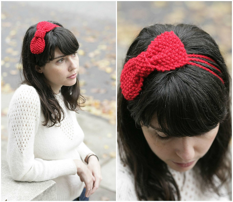 Knitted Bow Pattern : A Common Thread   knit bow pattern: moss stitch bow headband