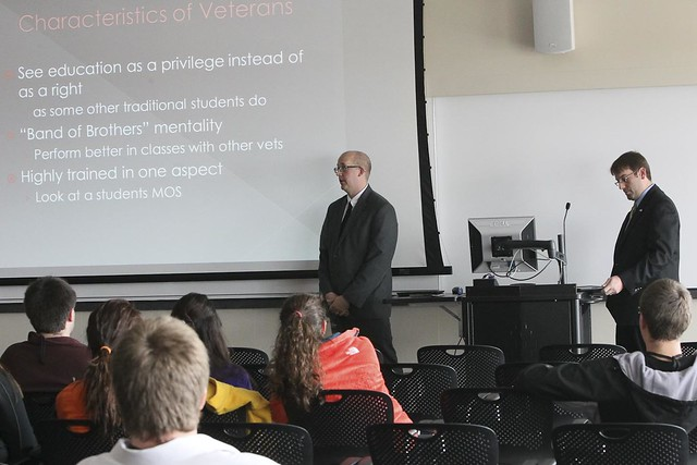 Brian Arwood and academic advisor Dan Eilen, presents at a mentoring symposium held at IUPUI.