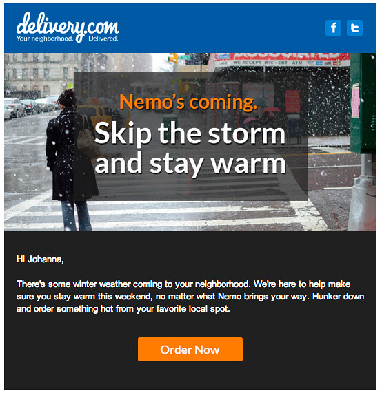Food delivery anticipating the storm, Exhibit B