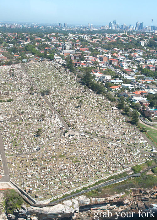 Bondi Helicopter flight aerial view over Waverley Cemetery, Sydney