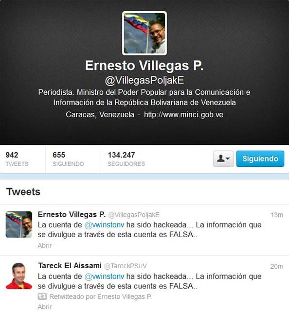 Ministro Villegas Twitter.