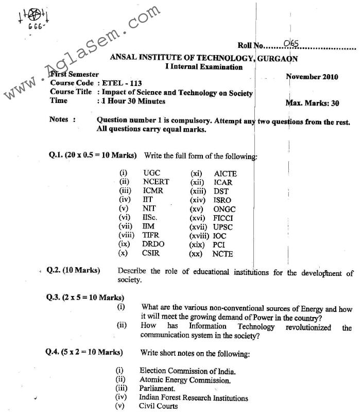 GGSIPU: Question Papers First Semester - First Term 2010 - ETEL-113