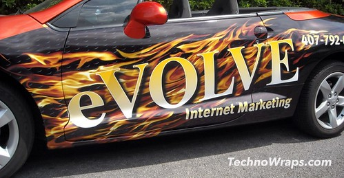 Digitally printed flames wrap on car