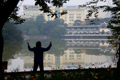 Morning Stretching Silhouette at Hoan Kiem Lake - Hanoi, Vietnam