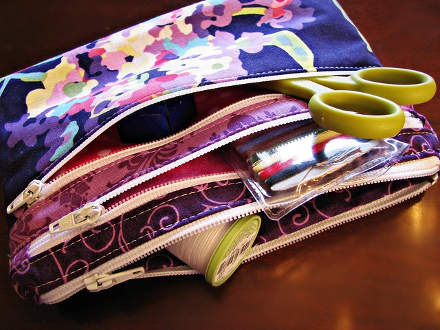 Triple Zip Pouch Closeup