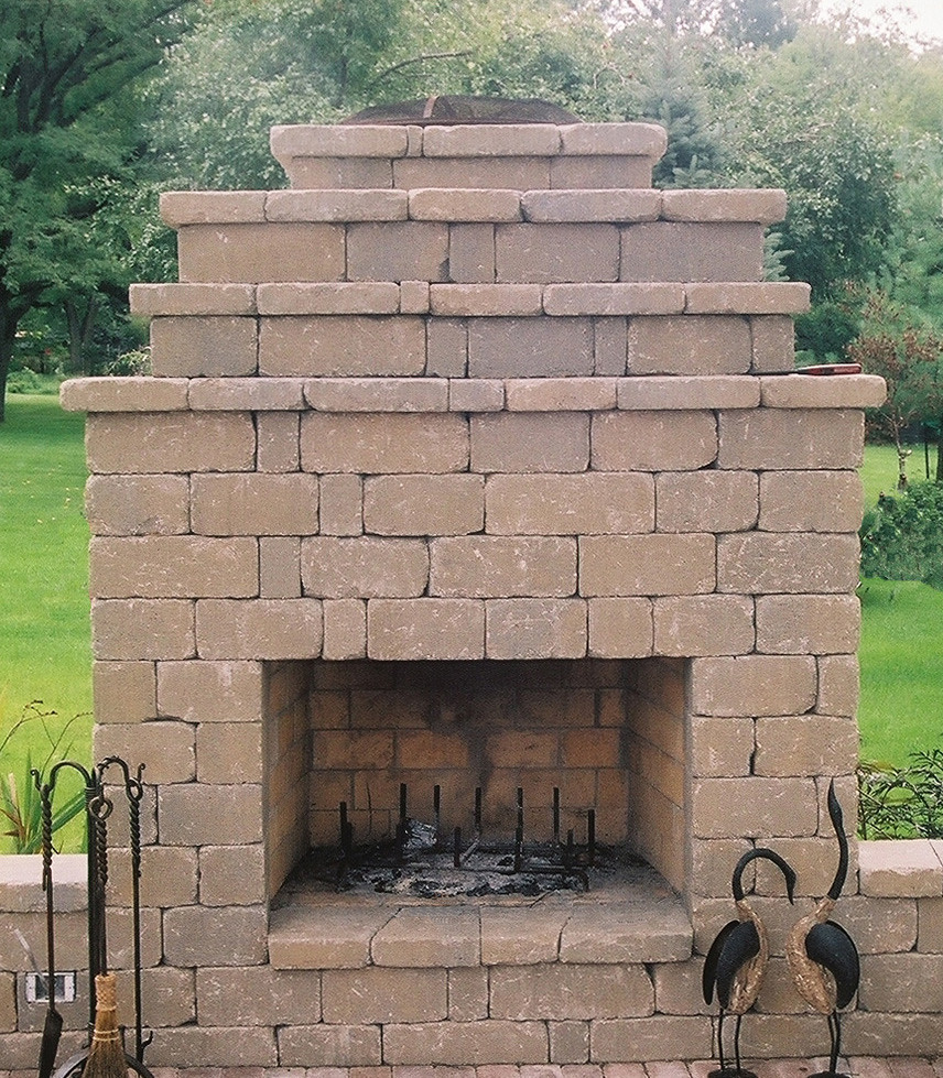 ... Outdoor Fireplace Finished With Wall Block ...