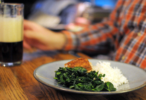 moroccan spiced salmon, rice, sauteed spinach