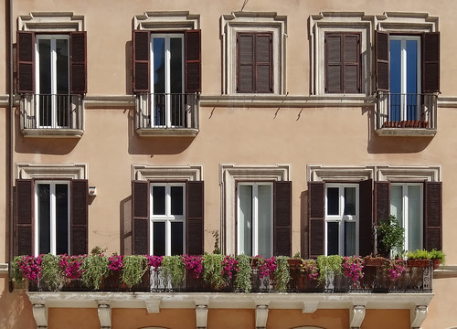 Rome Windows and Floral Balcony