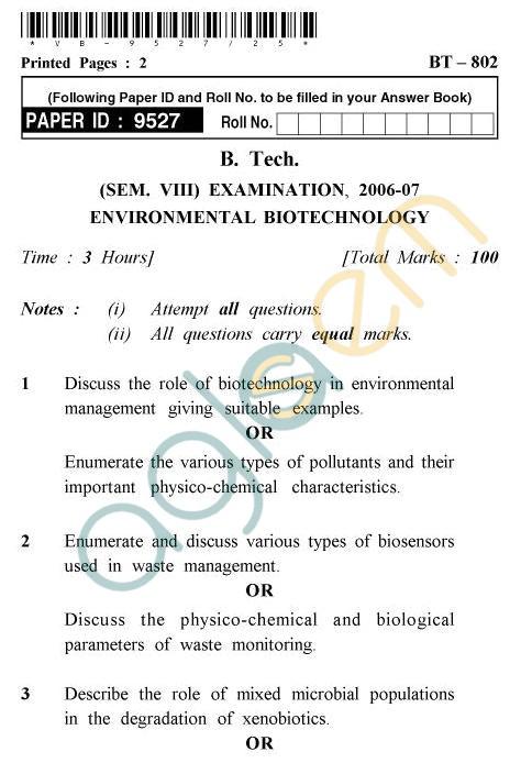 UPTU B.Tech Question Papers -BT-802 - Environmental Biotechnology