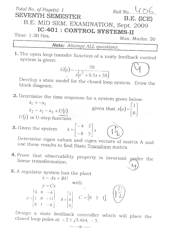 NSIT: Question Papers 2009 – 7 Semester - Mid Sem - IC-401