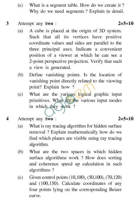 UPTU B.Tech Question Papers - CS-603-Computer Graphics