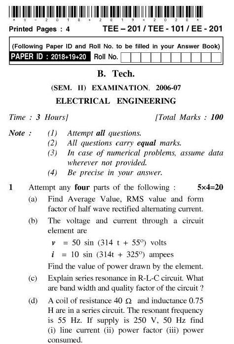 UPTU B.Tech Question Papers - TEE-201/TEE-101/EE-201-Electrical Engineering