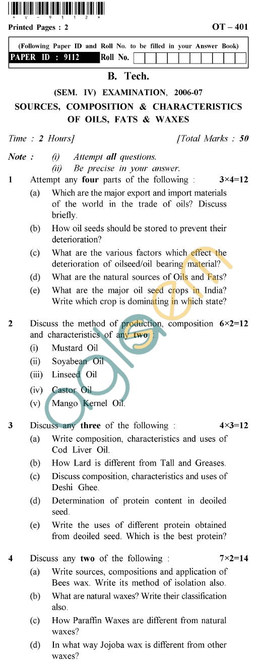 UPTU B.Tech Question Papers - OT-401 - Sources, Composition & Characteristics of Oils, Fats & Waxes