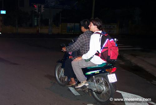 En moto taxi hasta Can Tho