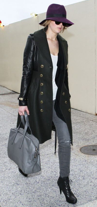 1 Jennifer Lawrence wearing Burberry Outerwear at LAX Airport 7th February 2013