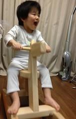 寝る前にパジャマで木馬に乗るとらちゃん 2013/3/12