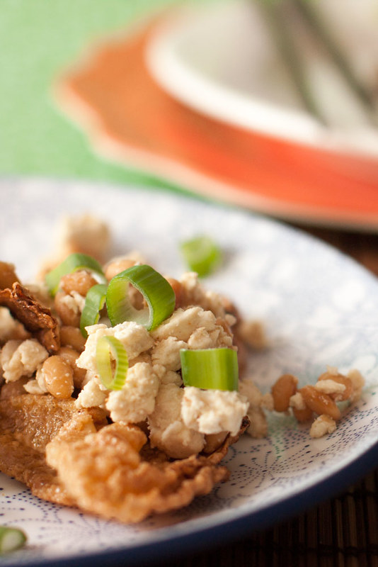Japanese natto with fried yuba and vegan blue cheese