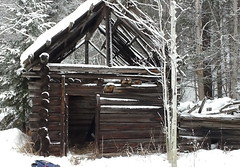 hut, winter, wood, snow, shack, log cabin, sugar house,