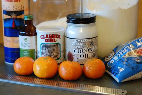 Ingredients for Vegan Mandarin Coconut Cookies by Eve Fox, Garden of Eating blog, copyright 2013