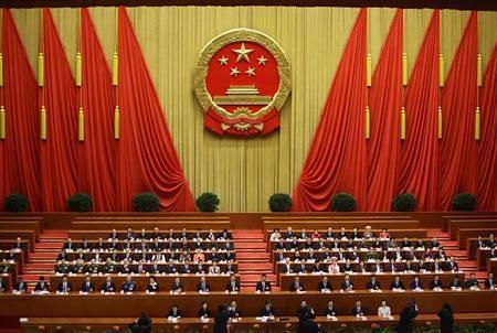 3月14日在北京人民大会堂拍到的全国人大会议现场图片。REUTERS/Jason Lee