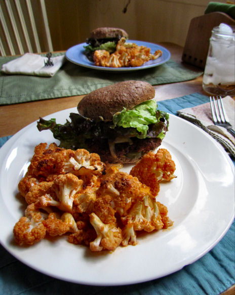 Black Bean Burgers with Spicy Buffalo Cauliflower