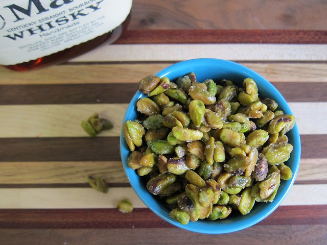 Bourbon maple glazed pistachios
