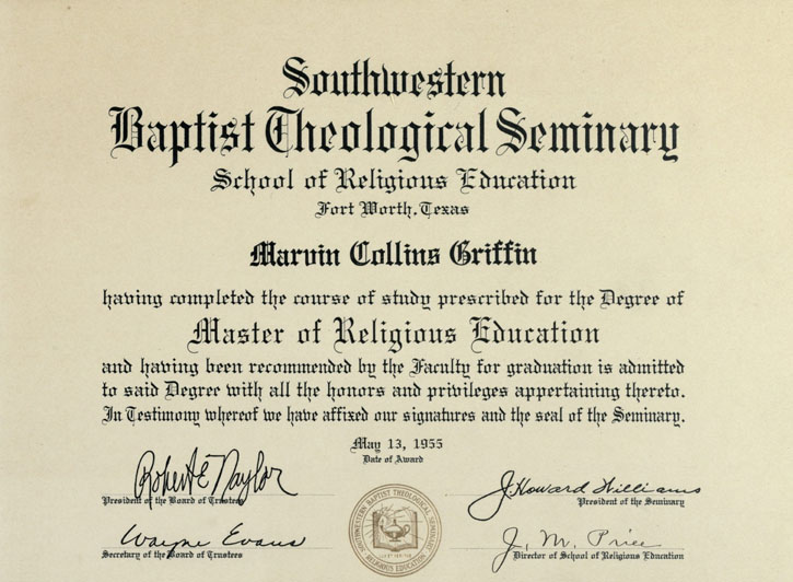 Southwestern Baptist Theological Seminary diploma, 1955