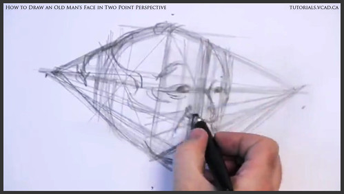 learn how to draw an old man's face in two point perspective 008
