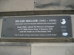 Photo of Hugh Miller brown plaque