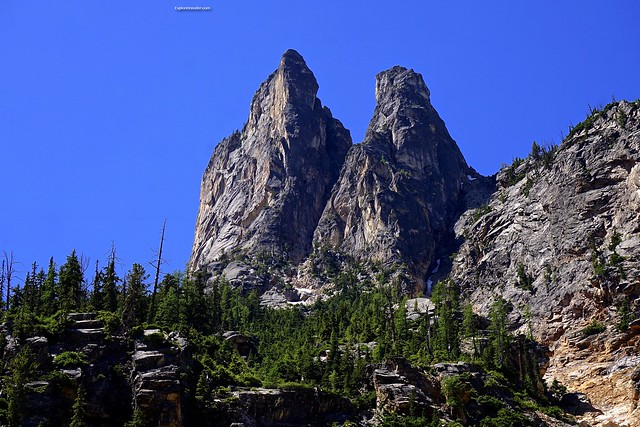 South and North Early Winters Spire mountains in the Northern Cascades Washington