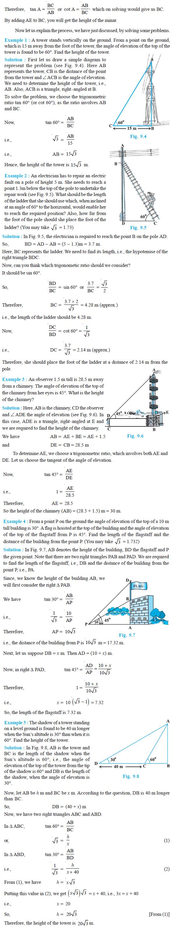 NCERT Class X Maths: Chapter 9 - Some Applications of Trigonometry